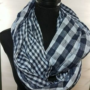 Bass | scarf blue plaid check infinity